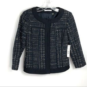 T. Tahari Blue Tweed Sofie Jacket Snap Front 6P